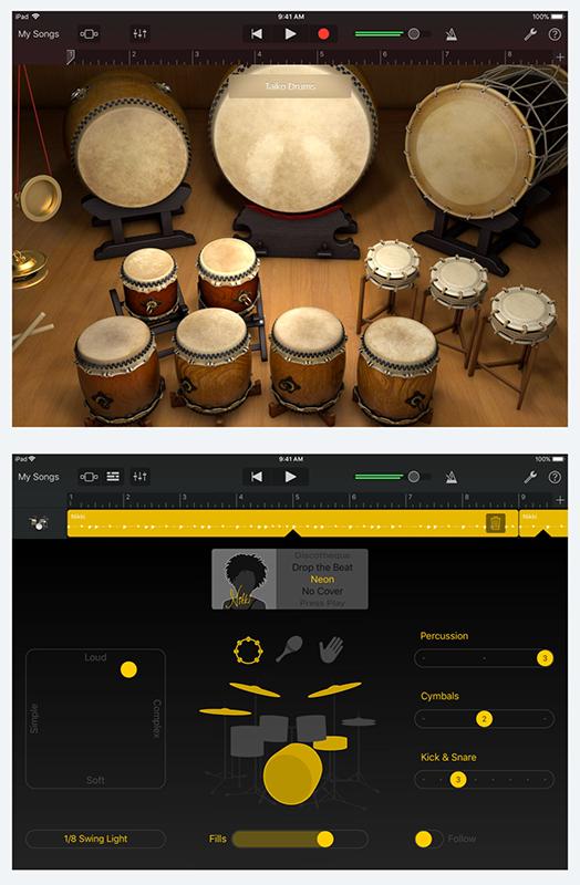 개라지밴드 드럼연주 화면과 드럼 자동연주 설정 화면