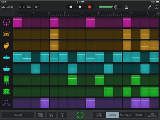 개라지밴드 시퀀스 나열 화면