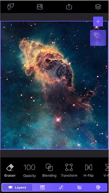 배경이될 두 번째 레이어에 우주 성운 사진 추가