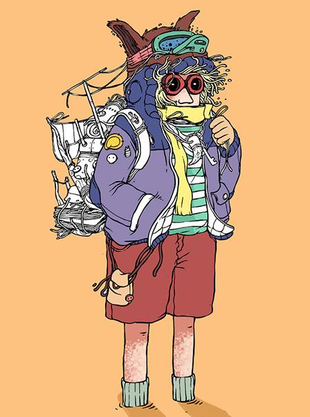 펌퍼를 입고 여행 가방을 맨 남자 그림