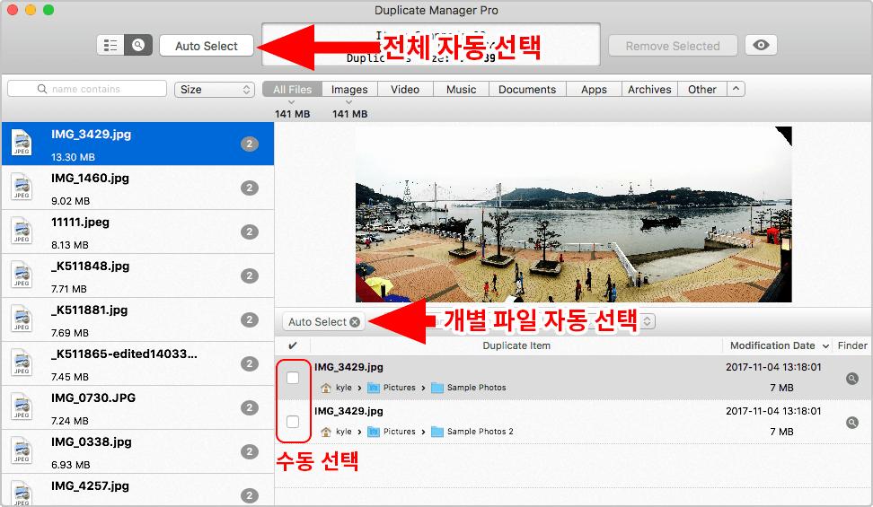 Duplicate Manager Pro 스캔결과 보기 화면