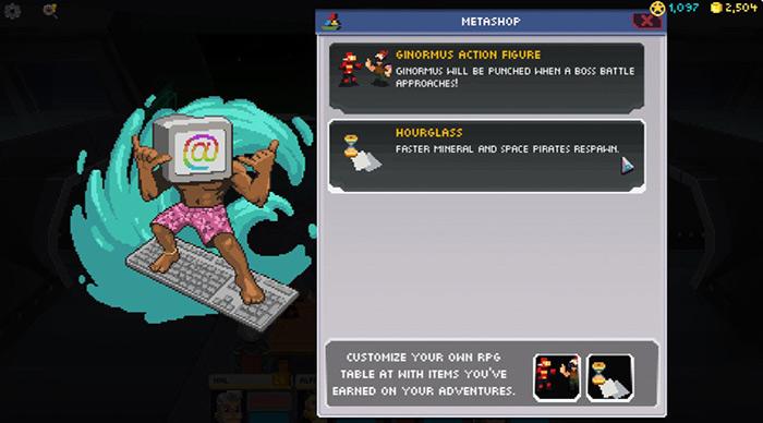 컴퓨터 키보드를 서핑보드 대신 타고 있는 머리가 모니터인 남자 캐릭터