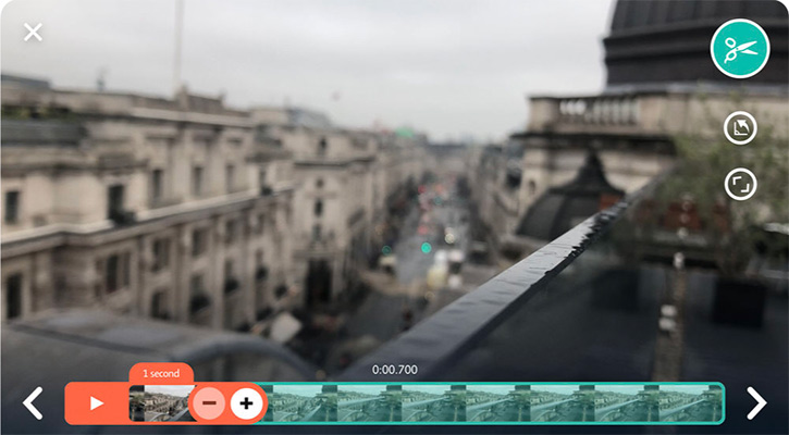 비디오 클립에서 1초만 떼어내는 UI