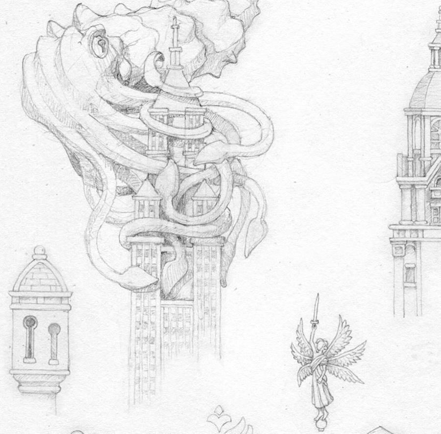 탑같은 건물 꼭대기에 매달린 오징어 몬스터