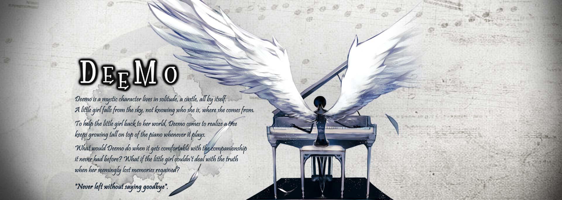 아이폰, 아이패드 리듬게임 Deemo 배너이미지: 피아노 치는 디모의 뒷모습