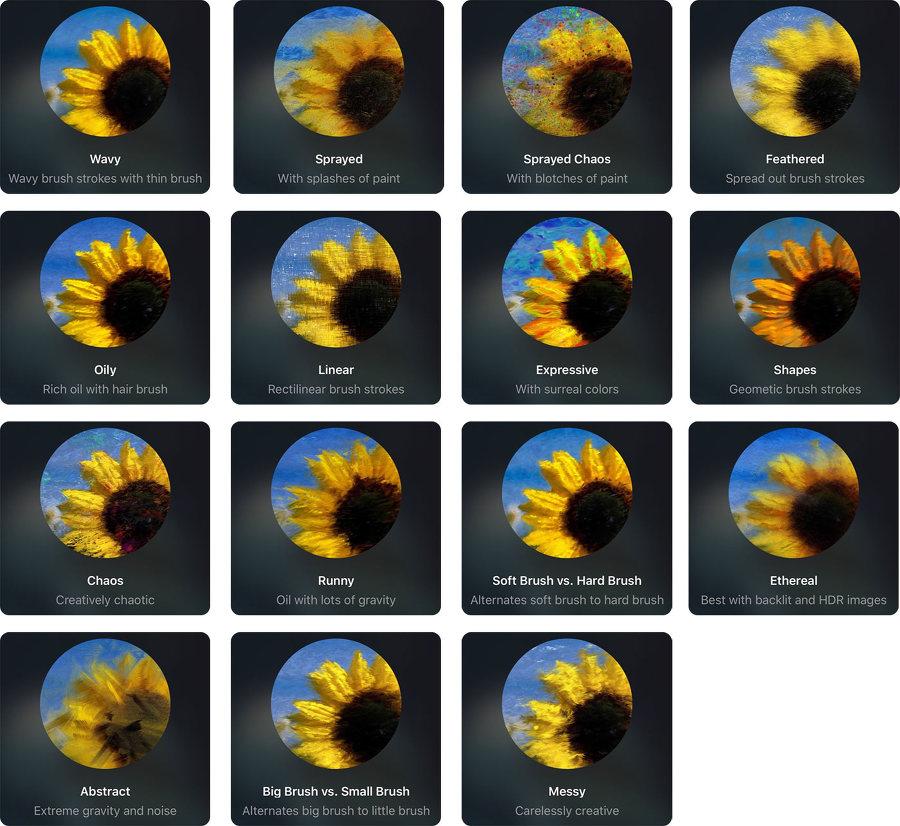 Oilist 어플에서 사용할 수 있는 유화필터 현재 15가지 종류가 있습니다