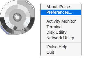 iPulse 시스템 모니터링 맥앱 위젯 우클릭으로 환경설정 메뉴 보기