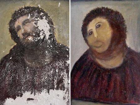 고대 예수 벽화를 복원해주겠다며 망쳐버린 할머니의 그림