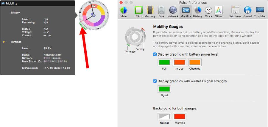 시스템 모니터링 위젯의 7시 방향 테두리 끝 점점점 모양은 맥북 배터리 사용현황을 나타내요
