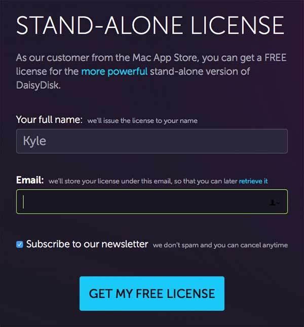 제목: 스탠드 어론 라이선스. 입력해야할 내용으로 이름 입력칸과, e-mail주소 입력칸. 그리고 Get My Free License 버튼이 있습니다