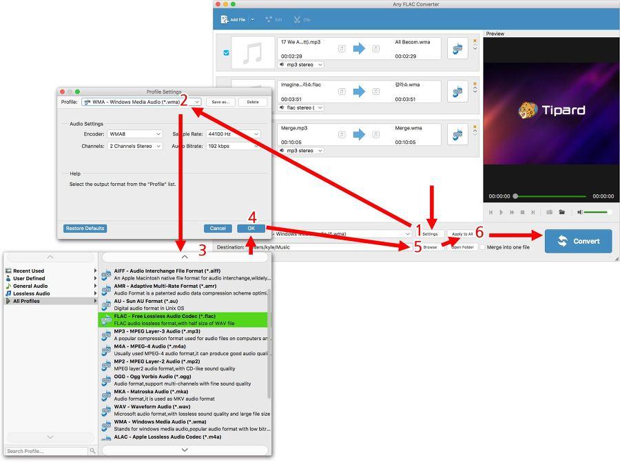 맥오디오 변환기 Any FLAC 사용법- 다수파일 출력 설정