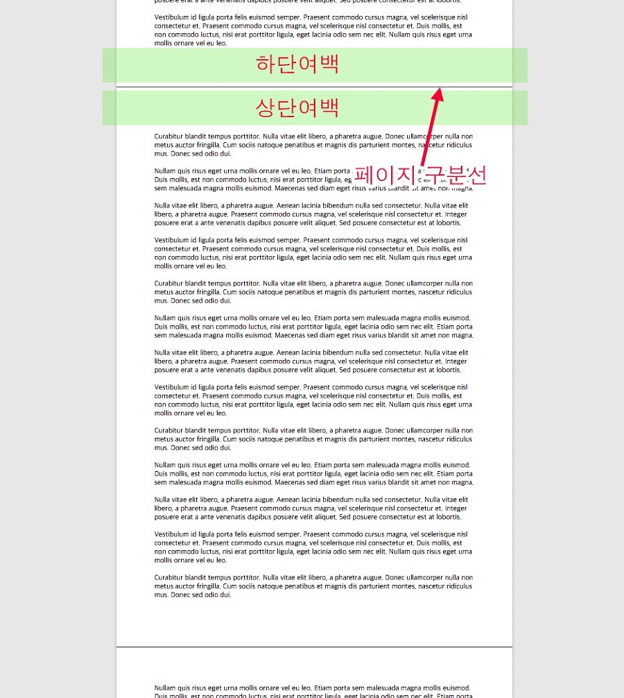페이지 쪽과 쪽 사이에 머리말과 꼬리말 공간, 그리고 구분선때문에 글의 흐름이 매끄럽게 보이지 않습니다