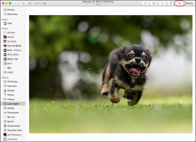 맥 기본 사진앱에서 하나의 사진을 크게 볼때 오른쪽 위에 보면 버튼들 중에 사진편집 버튼이 있습니다.