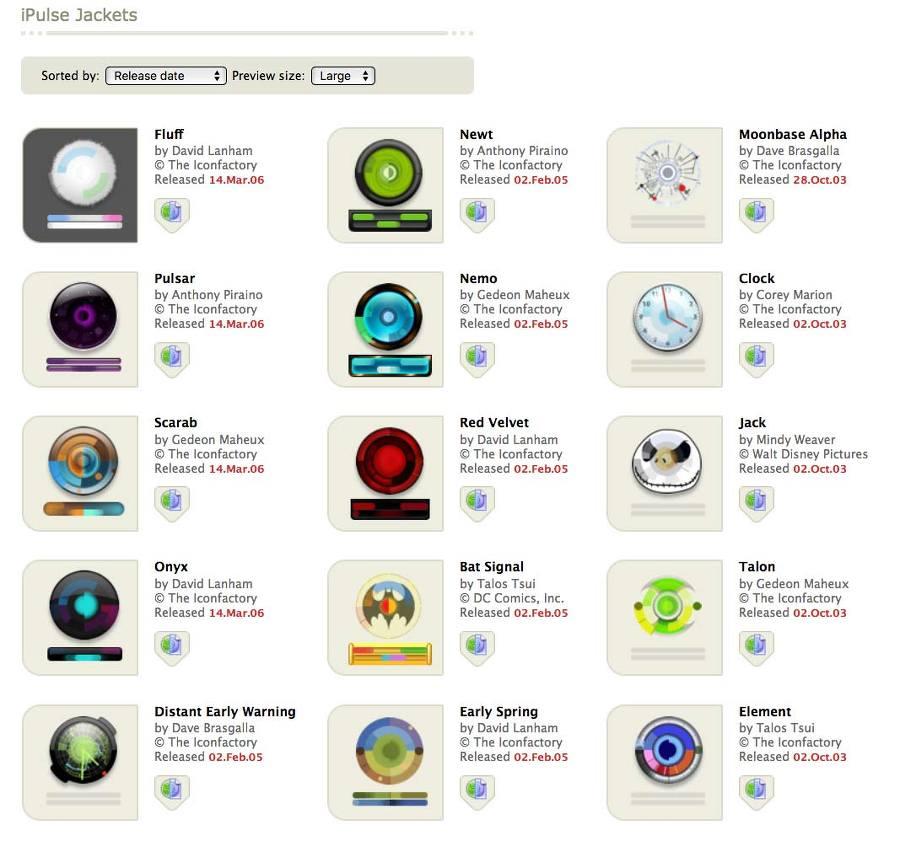 iPulse 맥앱 제작사 다운로드 웹페이지에는 많은 위젯 테마가 있습니다