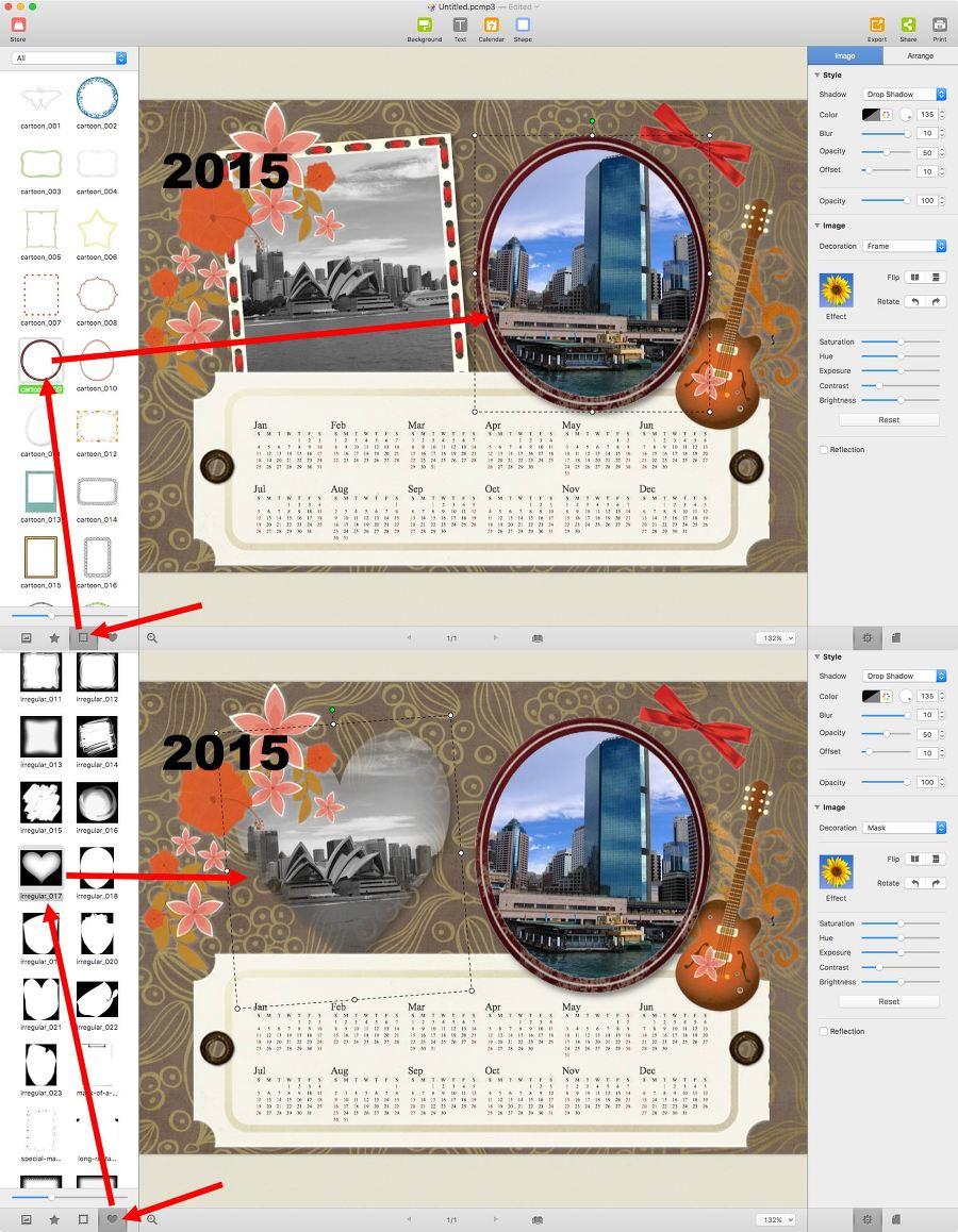 사진을 하나 선택 후 액자를 변경하거나 마스킹을 바꿔서 사진 모야을 결정가능해요