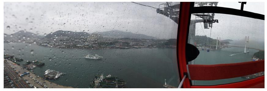 파노라마 사진: 비오는날 여수 케이블카 경치
