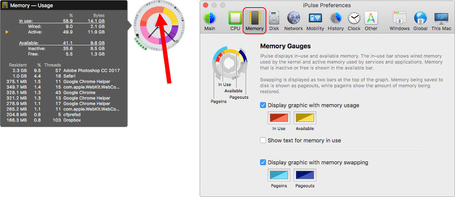 모니터링 위젯 중간 위쪽은 메모리현황 그래프입니다