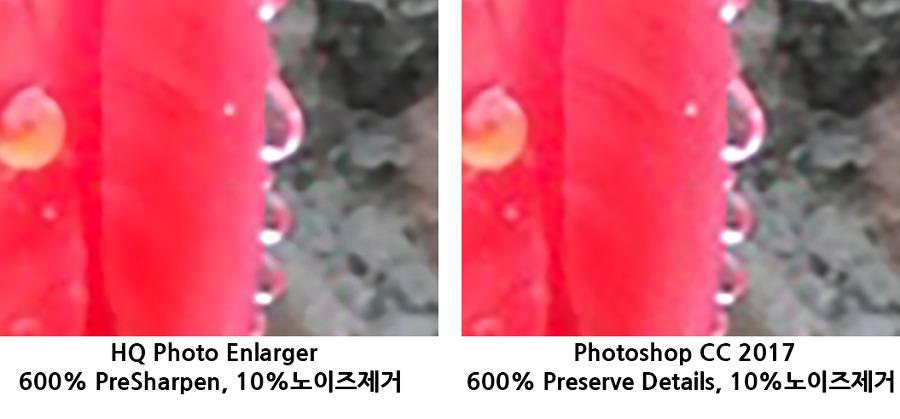 확대비교 왼쪽 HQ Photo Enlarger, 오른쪽 포토샵