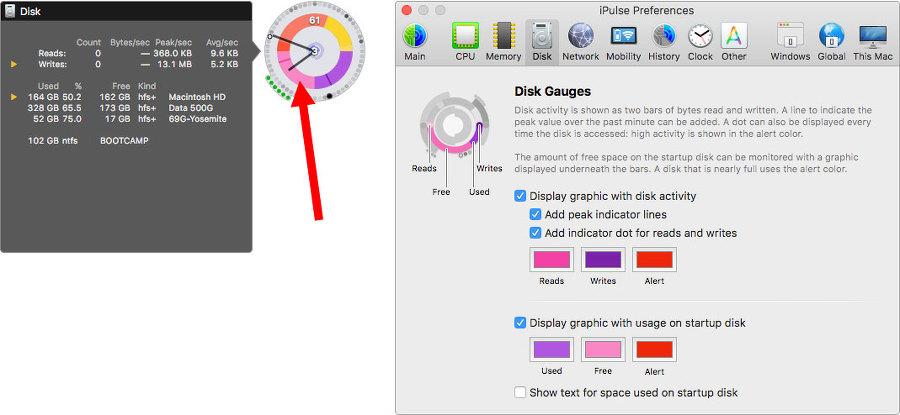 위젯 7시방향 가운데 디스크 사용현황 그래프예요