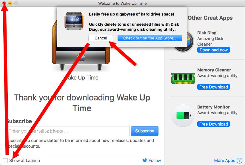 Wake Up Time Pro 광고창 닫기